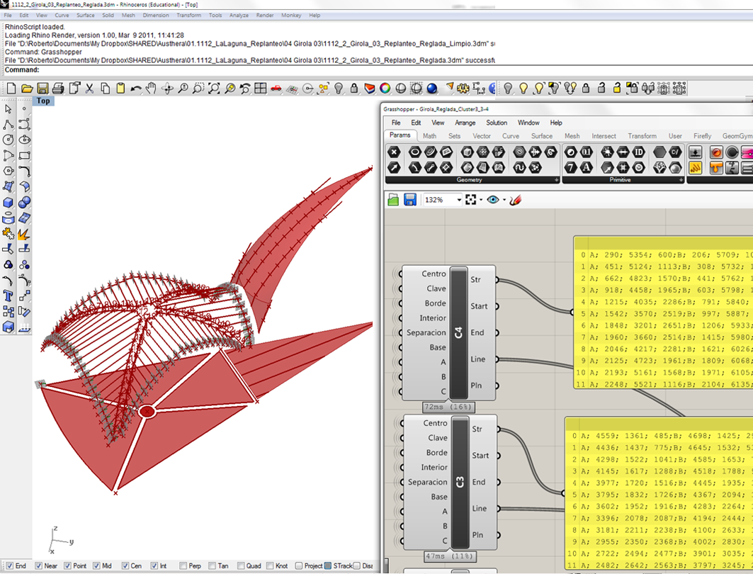 Formwork data extracted with Rhinoceros and Grasshopper